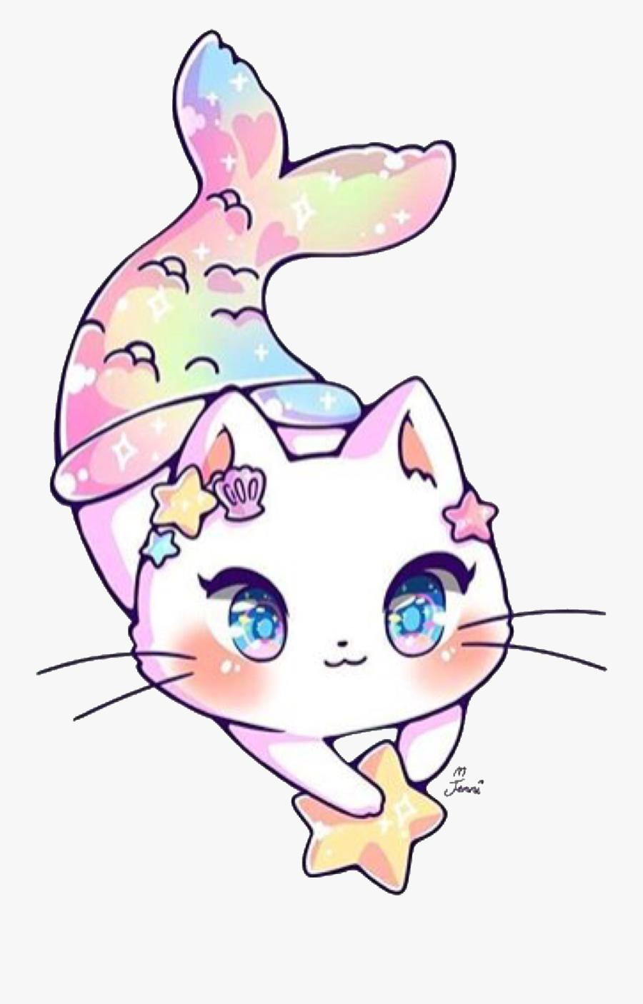 #kawaii #adorable #jenniillustrations #cat #mermaid, Transparent Clipart