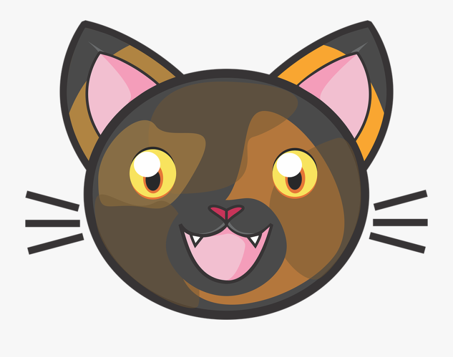 Tortie Cat, Calico, Kitty, Cute, Adorable, Fun, Kids - Cat Face Vector Png, Transparent Clipart