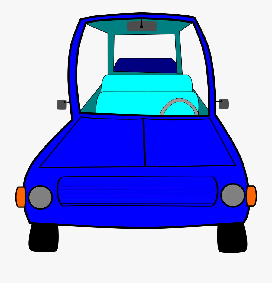 Cartoon Blue Car Front - Front View Cartoon Car Png, Transparent Clipart