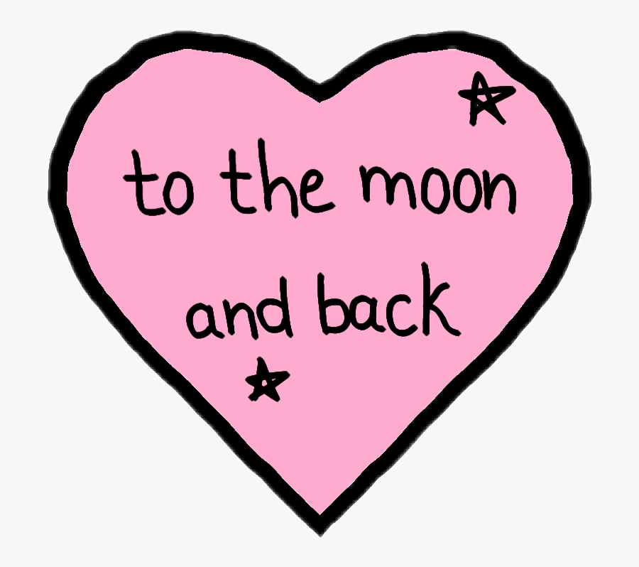 #love #pink #moon #ily #i #love #you #to #the #moon - Heart, Transparent Clipart