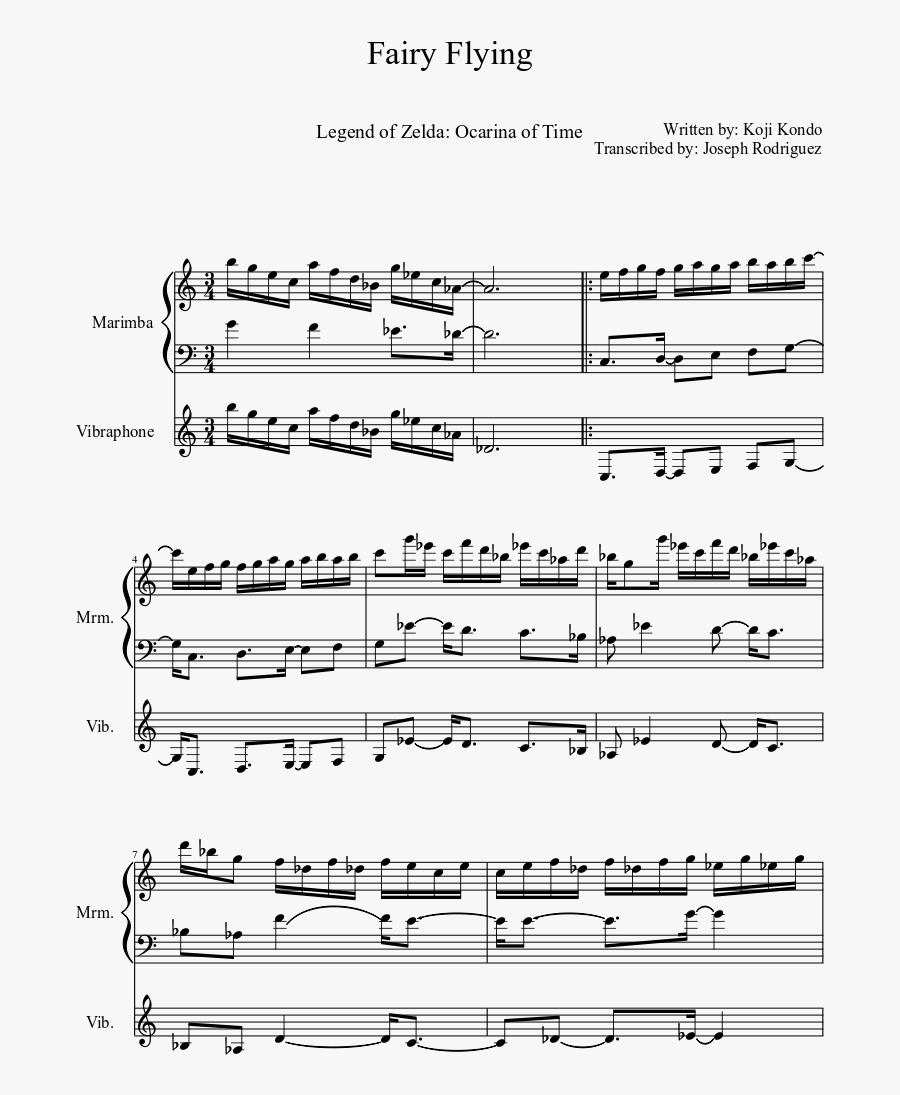 Fairy Flying Sheet Music Composed By Written By - Sheet Music, Transparent Clipart