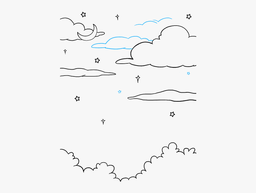 How To Draw Night Sky - Simple Night Sky Easy Drawing, Transparent Clipart