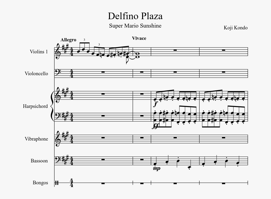 Delfino Plaza Sheet Music Composed By Koji Kondo - Delfino Plaza Flute Sheet Music, Transparent Clipart