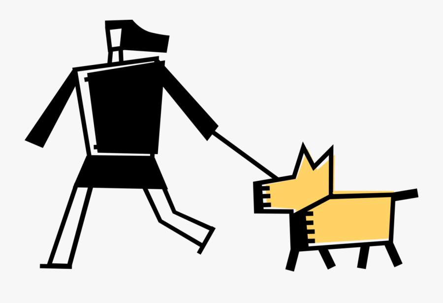Vector Illustration Of Pet Owner Walks Family Canine - Illustration, Transparent Clipart