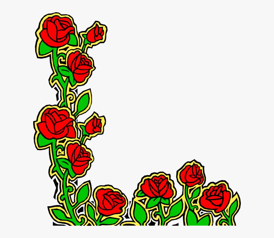 Vector Illustration Of Red Rose Garden Flowers Design - Portable Network Graphics, Transparent Clipart