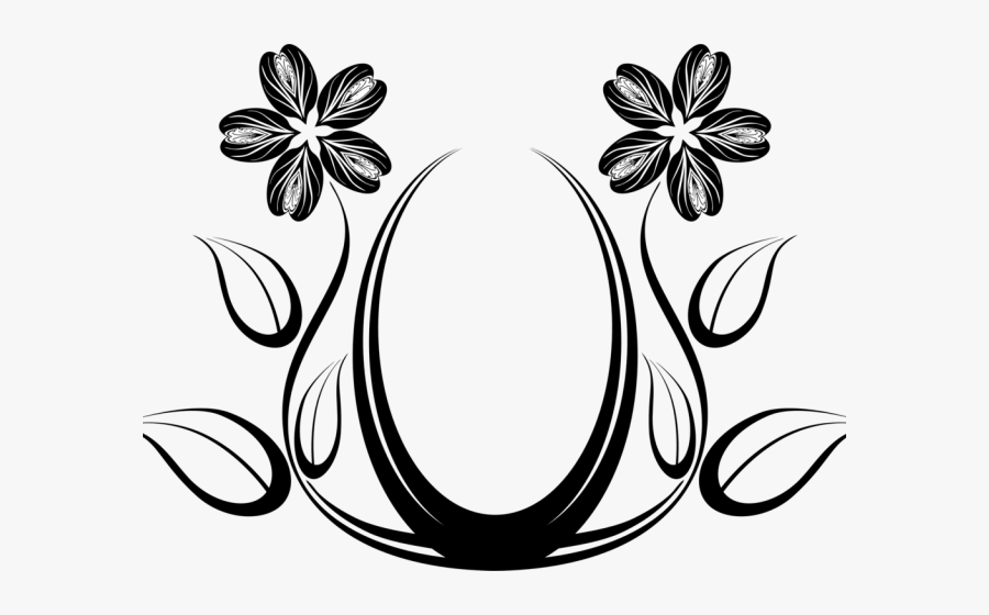 Transparent Floral Pattern Clipart - Abstract Design Black And White Flower, Transparent Clipart