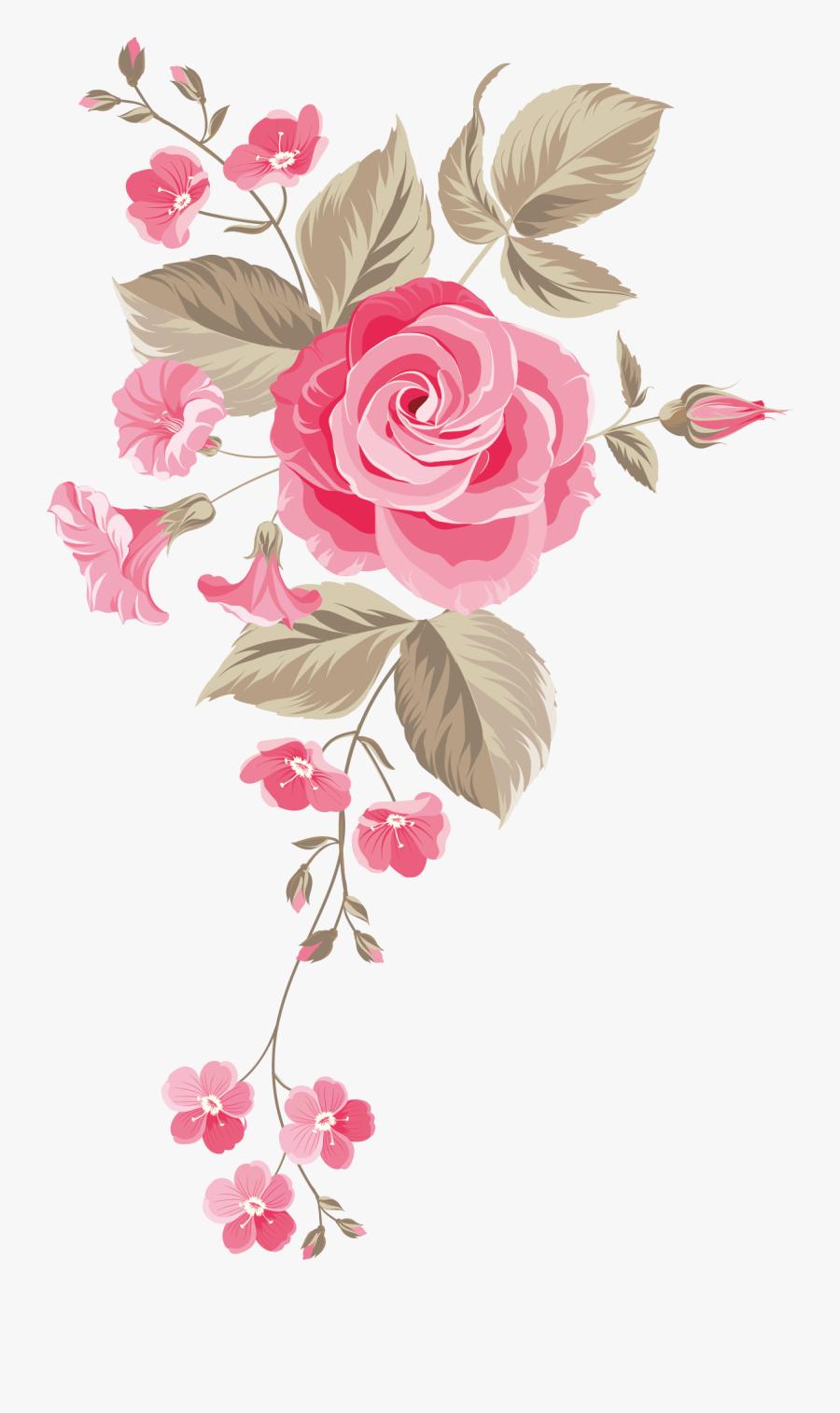 Cut Garden Bouquet Roses Centifolia Flower Design Clipart - Flower Design No Background, Transparent Clipart