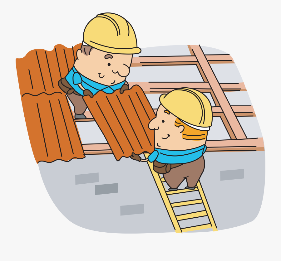 Transparent Where Is Clipart In Powerpoint - Cartoon Roofers At Work, Transparent Clipart