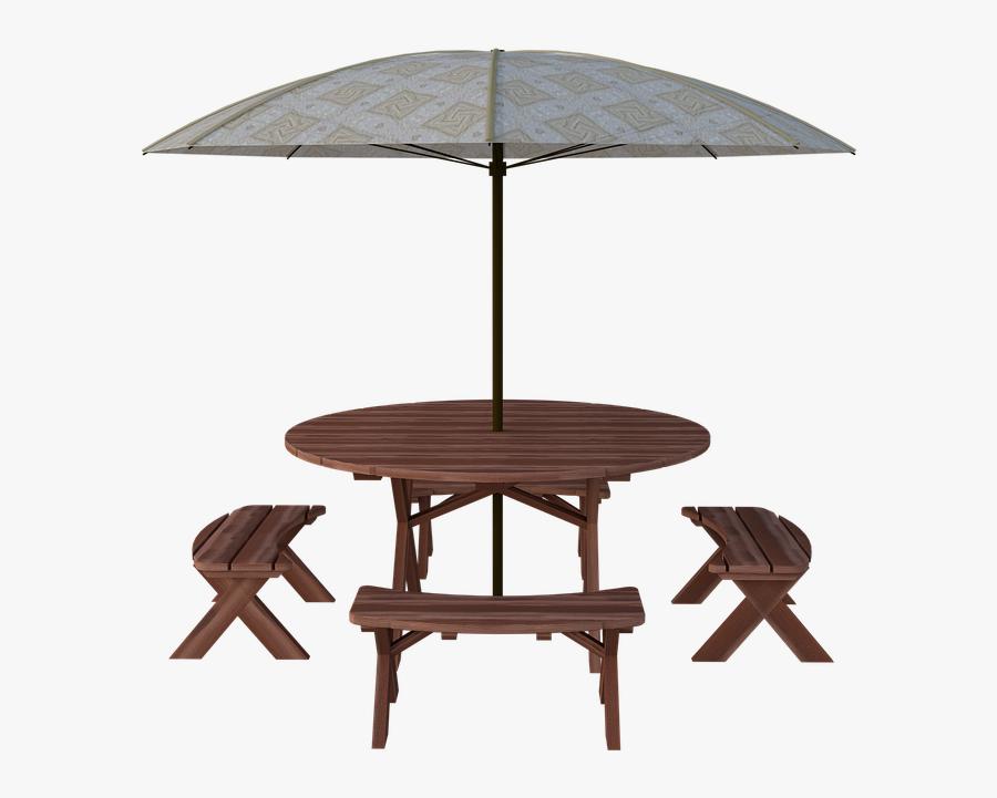 Transparent Picnic Table Png - Picnic Table With Umbrella Png, Transparent Clipart