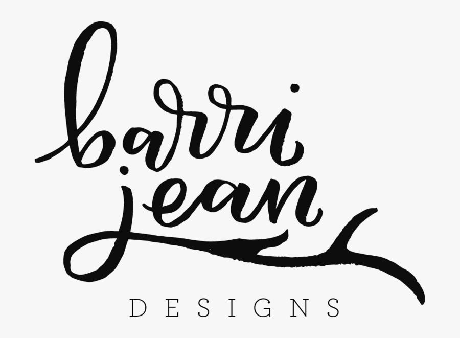 Barri Jean Logo Black - Calligraphy, Transparent Clipart