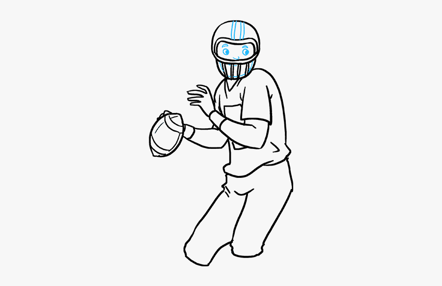 How To Draw A Football Player - Football Player Drawing, Transparent Clipart