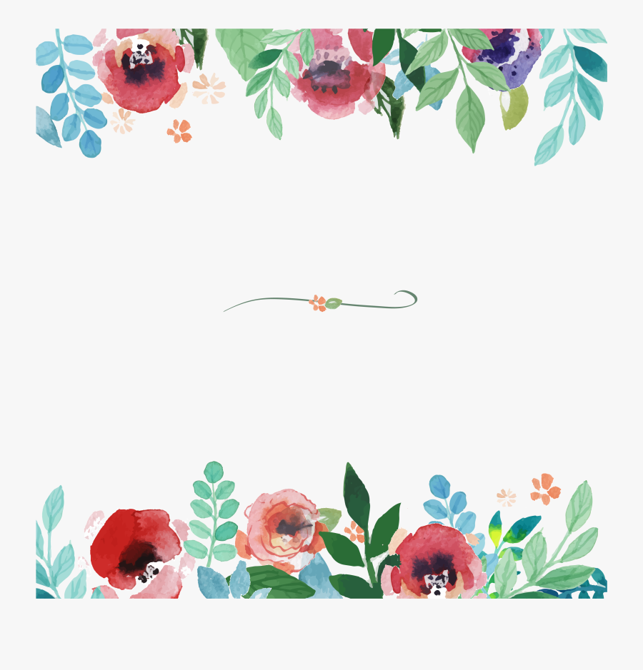 Flower Watercolor Painting Pattern - Watercolor Floral Border Vector, Transparent Clipart