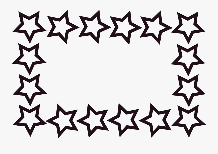 Rectangle Stars Frame Border Transparent Image Also - Star Border Black And White Clipart, Transparent Clipart