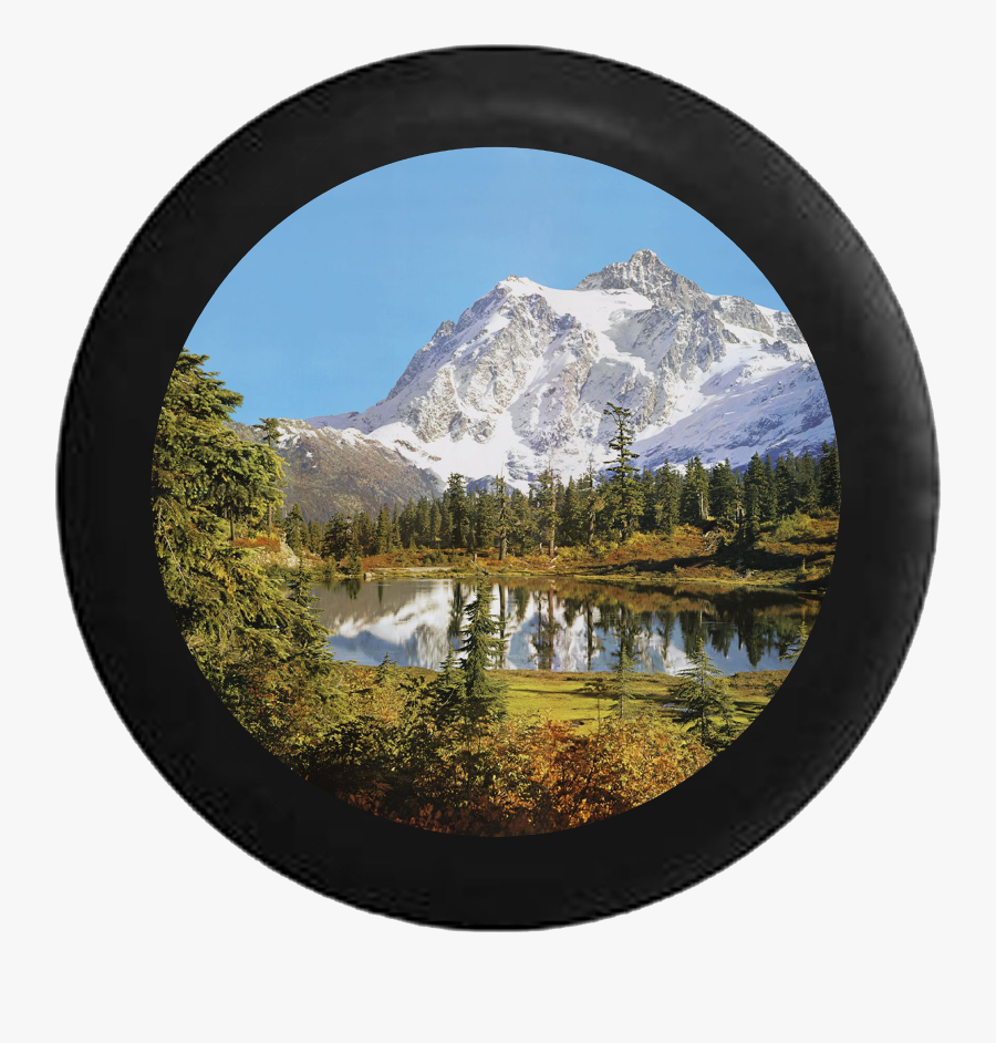 Snowy Mountain Overlooking Pine Forest And Calm Lake - North Cascades National Park, Mount Shuksan, Transparent Clipart