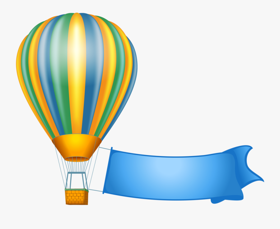 Image Du Blog Zezete2 - Flying Balloon Hot Air Balloon With Banner Clipart, Transparent Clipart