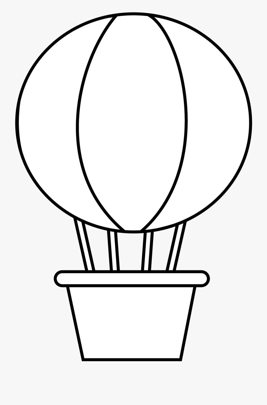 Clip Art Transparent Stock Hot Air Balloon Black And - Figuras Geometricas Para Armar Esfera, Transparent Clipart