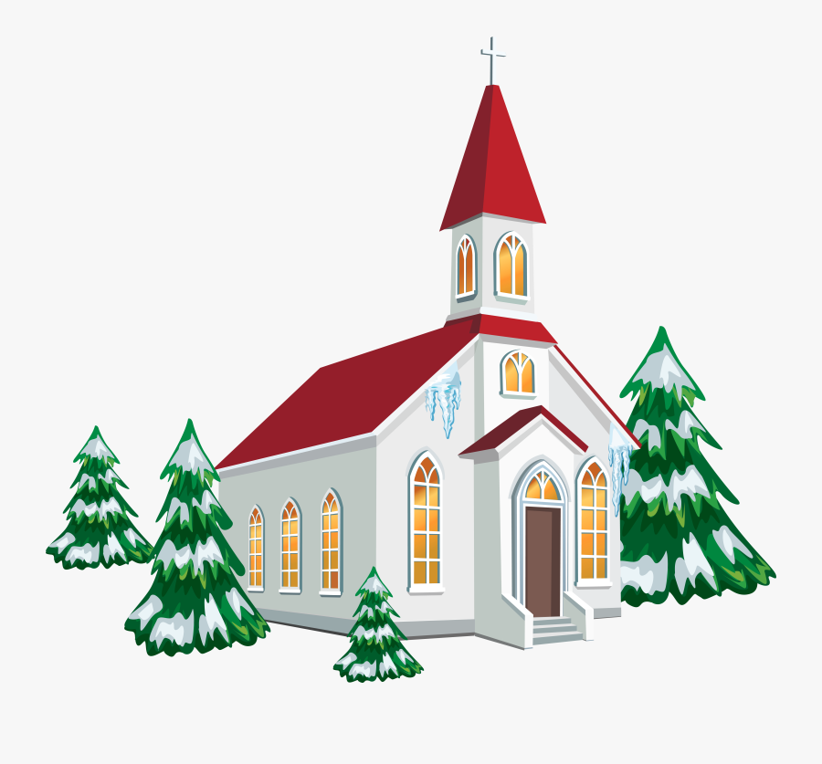 Winter Church With Snow Trees Png Clipart Image - Church Clipart Png, Transparent Clipart