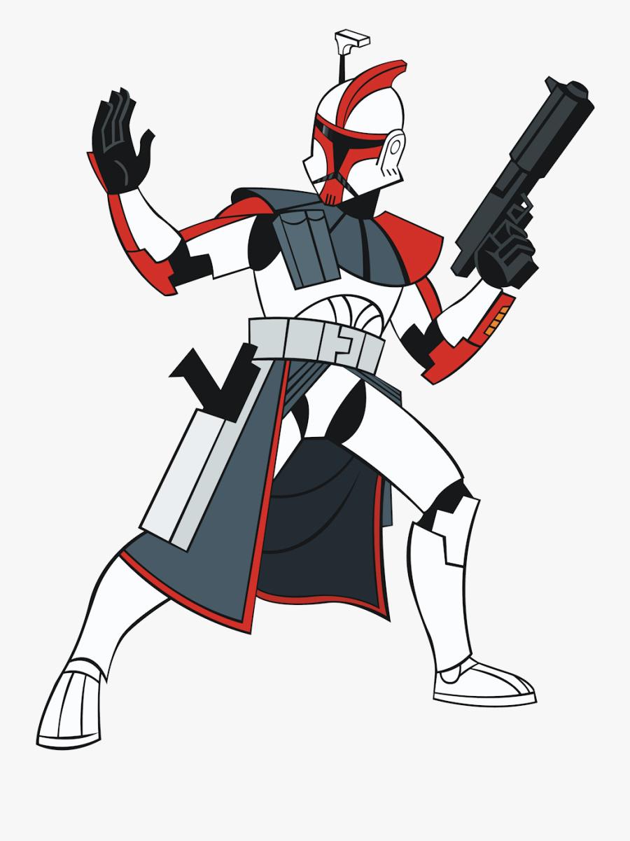 Darth Vader Clipart Clone War - Star Wars Clone Trooper Cartoon, Transparent Clipart