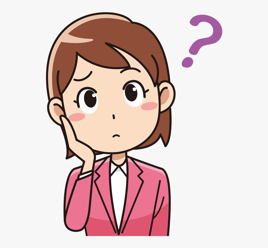 Talking Mouth Clip Art - Girl Thinking Cartoon Png, Transparent Clipart