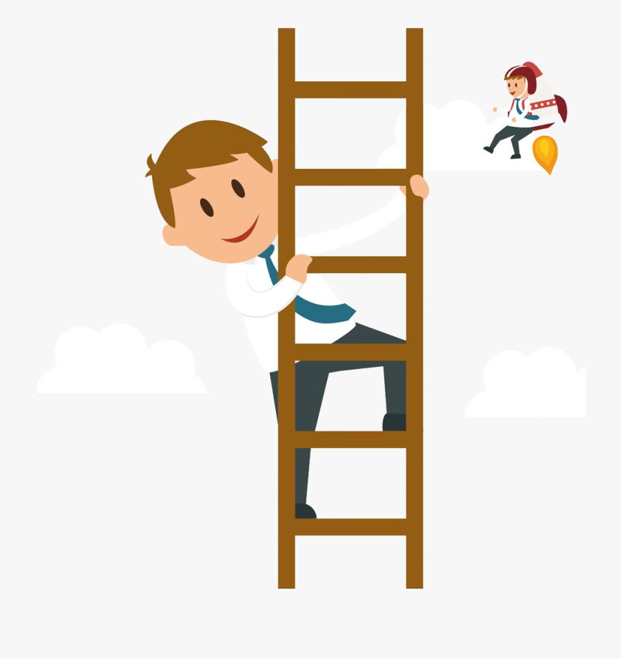 Svg Climbing A Ladder Clipart - Climbing Ladder Cartoon, Transparent Clipart