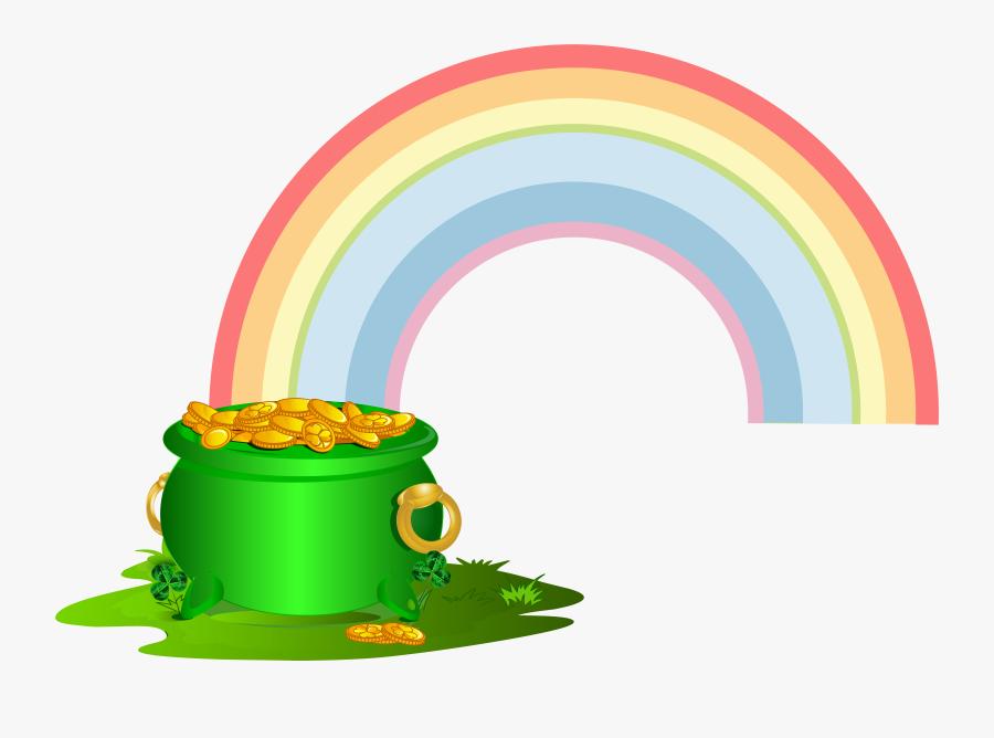 Green Pot Of Gold With Rainbow Png Clip Art Imageu200b - Transparent Background Rainbow With Pot Of Gold Clipart, Transparent Clipart
