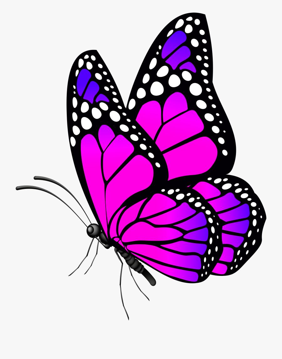 Free Desktop Wallpaper Butterflies Flowers - Pink Clip Art Butterfly, Transparent Clipart