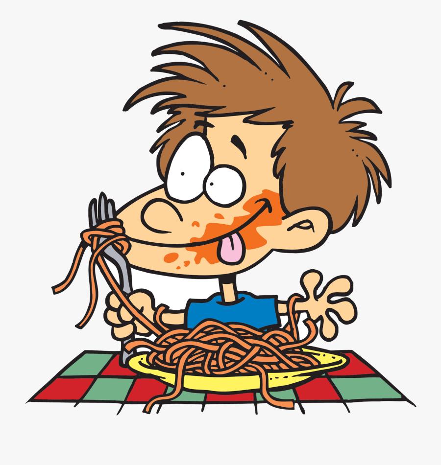 Eating Hd Fat People Pizza Cartoon Spaghetti Clipart - Eating Spaghetti Clipart, Transparent Clipart