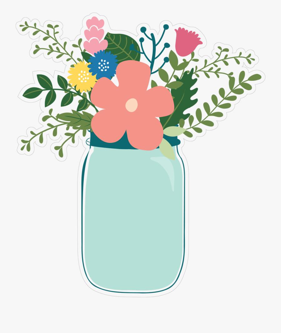 Flower Jar Print & Cut File - Transparent Flowers In Jar Clipart, Transparent Clipart