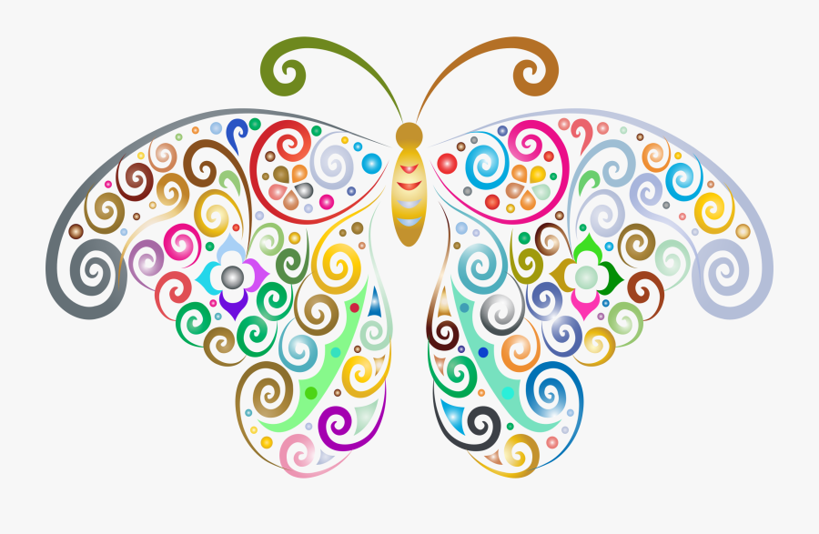 Prismatic Floral Flourish Butterfly Silhouette No Background - Clipart Butterfly With No Background, Transparent Clipart