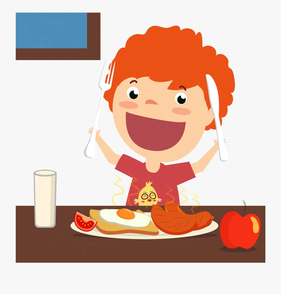 Clip Art Breakfast Full Eating Illustration - Cartoon Eating Breakfast Png, Transparent Clipart