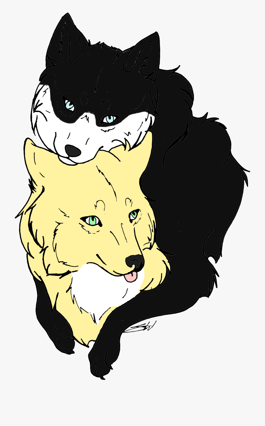 Sibling Wolf Lineart By Xx Auburn Wolf Xx-d567rqi - Wolf Wolf Lineart, Transparent Clipart