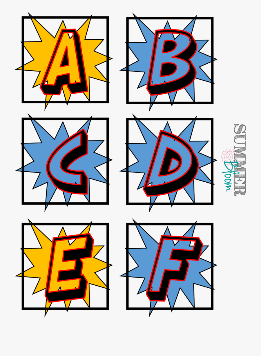Superhero Word Wall Alphabet - Free Printable Superhero Alphabet Letters, Transparent Clipart