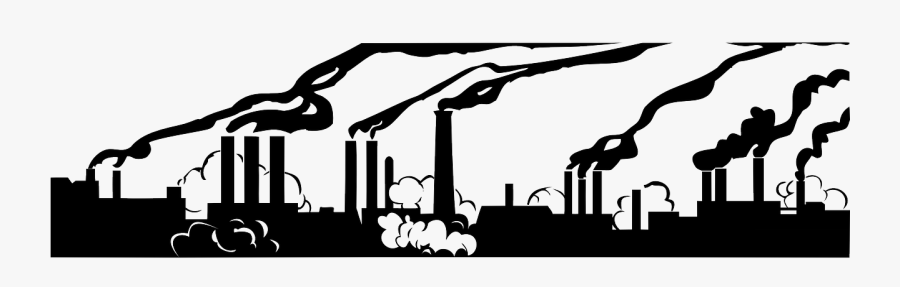 Air Pollution Black And White Clipart , Png Download - Factory Pollution Black And White, Transparent Clipart