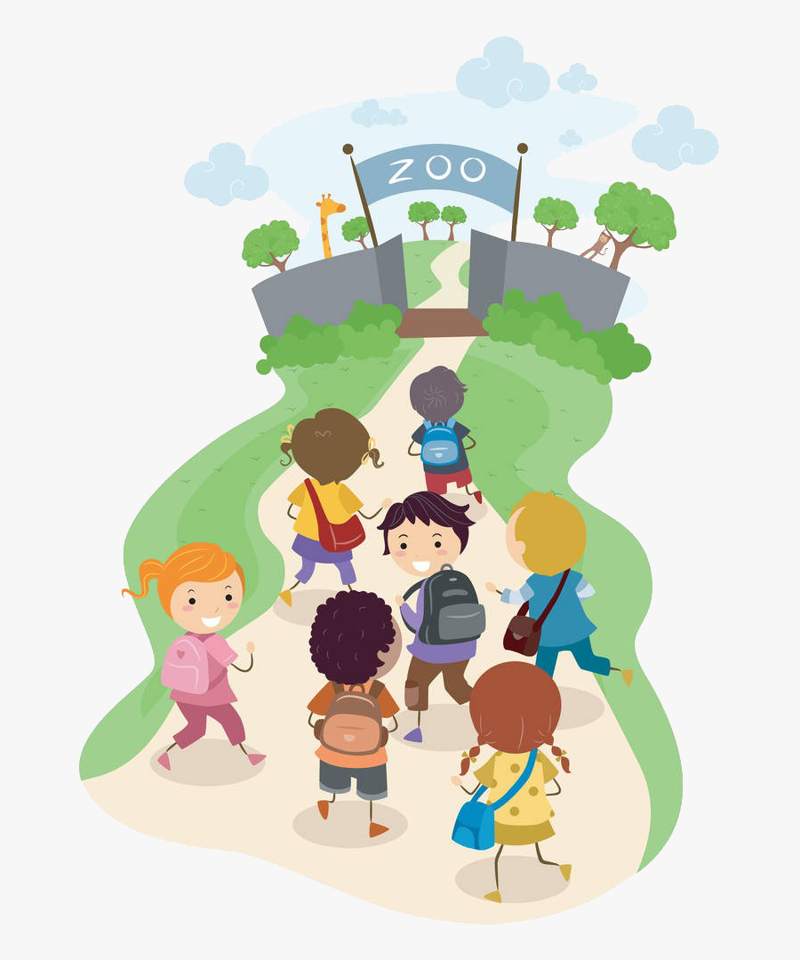 Zoo Clipart Field Trip - Walking To School Clipart, Transparent Clipart