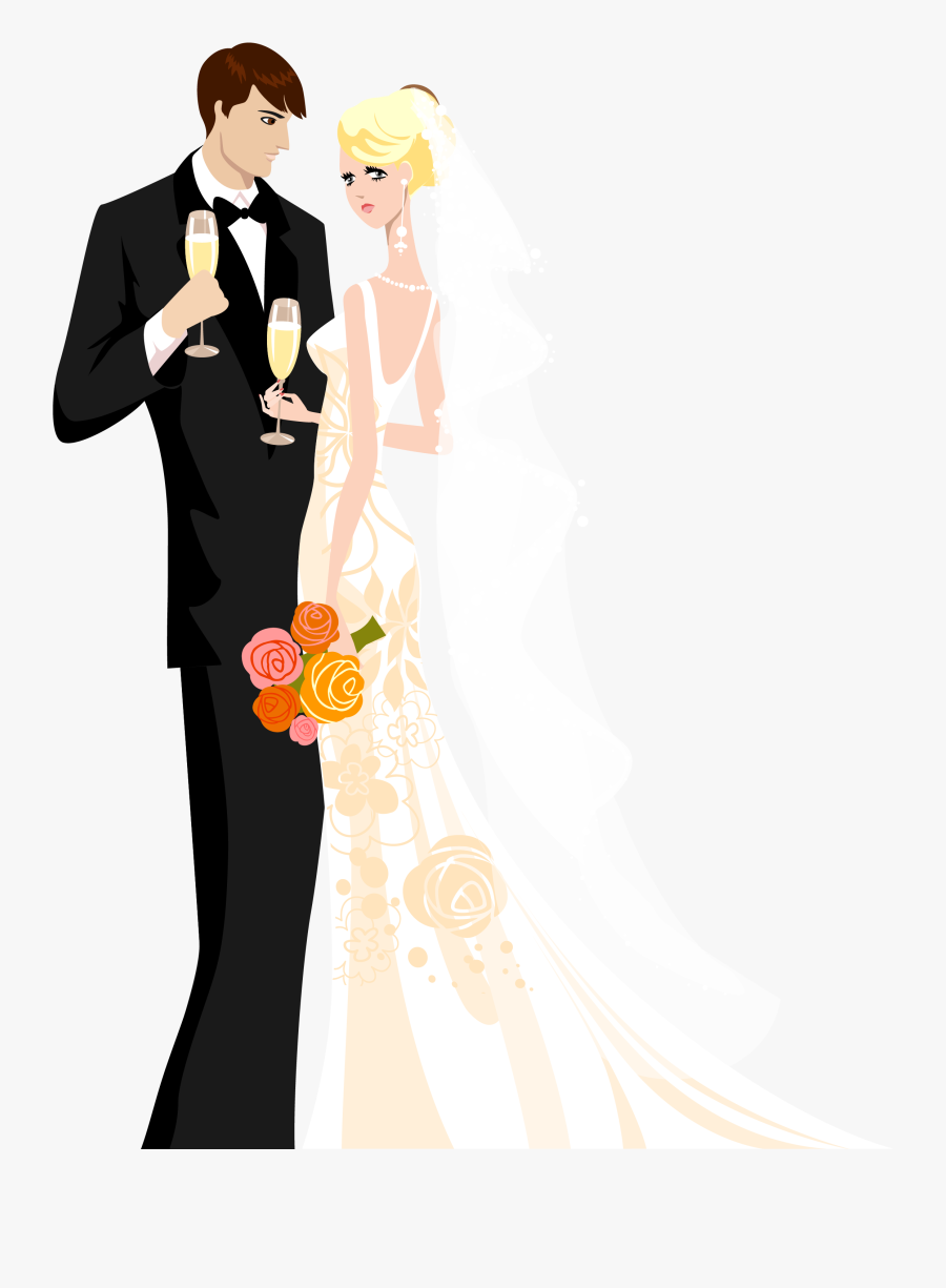 Png Library Library Vintage Bride And Groom Clipart - Wedding Bride And Groom Cartoon, Transparent Clipart