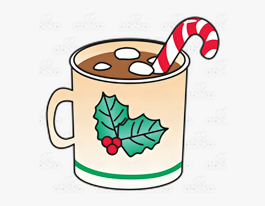 Hot Cocoa Clipart Marshmallow - Hot Chocolate With Marshmallows And Candy Cane, Transparent Clipart