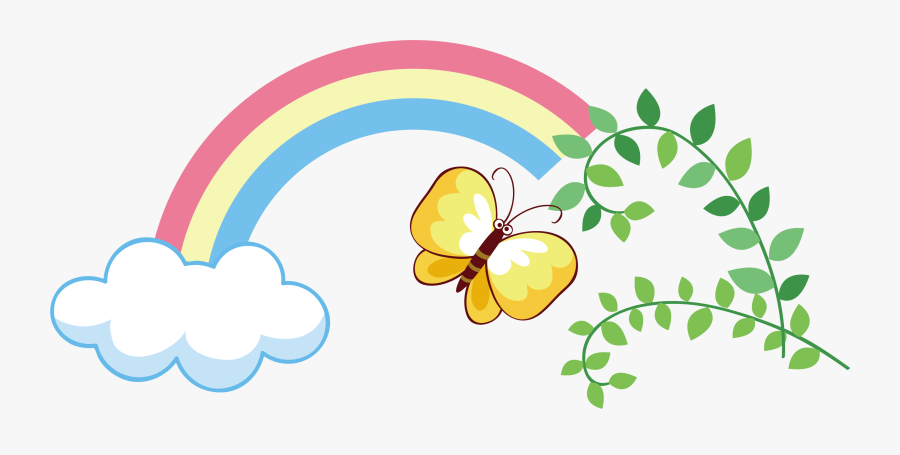 Transparent Butterfly Clipart - Rainbow And Butterflies Clipart, Transparent Clipart