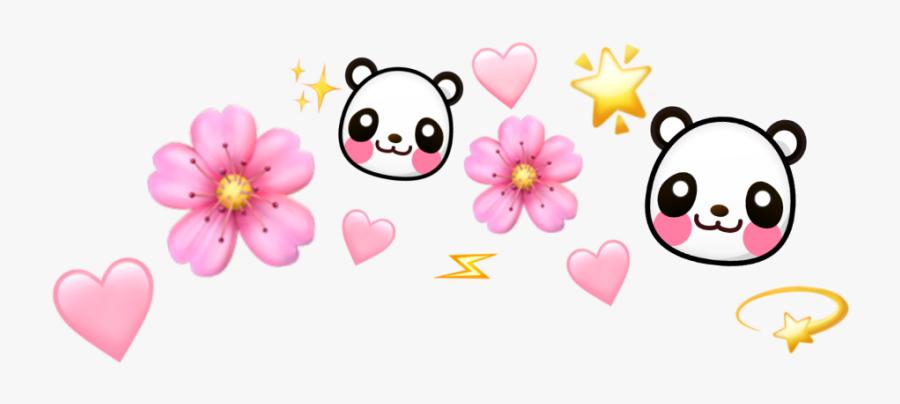 #heart #hearts #kawaii #panda #stars #star #flower - Emoji Flower Crown Png, Transparent Clipart