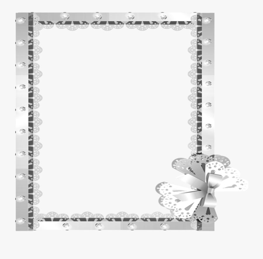 Transparent Ribbon Frame Png - Silver Borders, Transparent Clipart