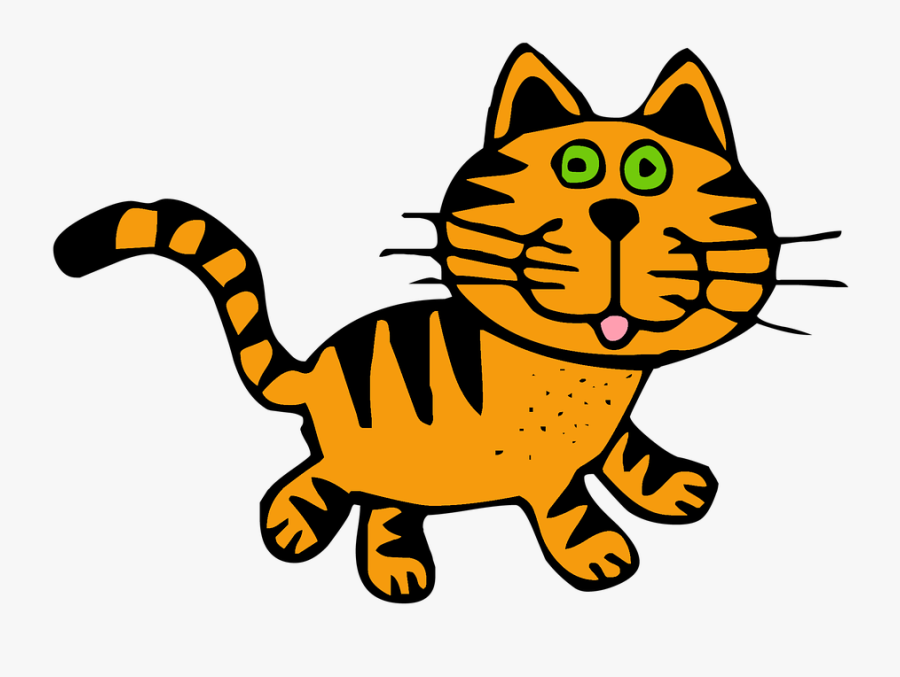 Drawn Feline Tabby Cat - Black White Striped Kitty, Transparent Clipart