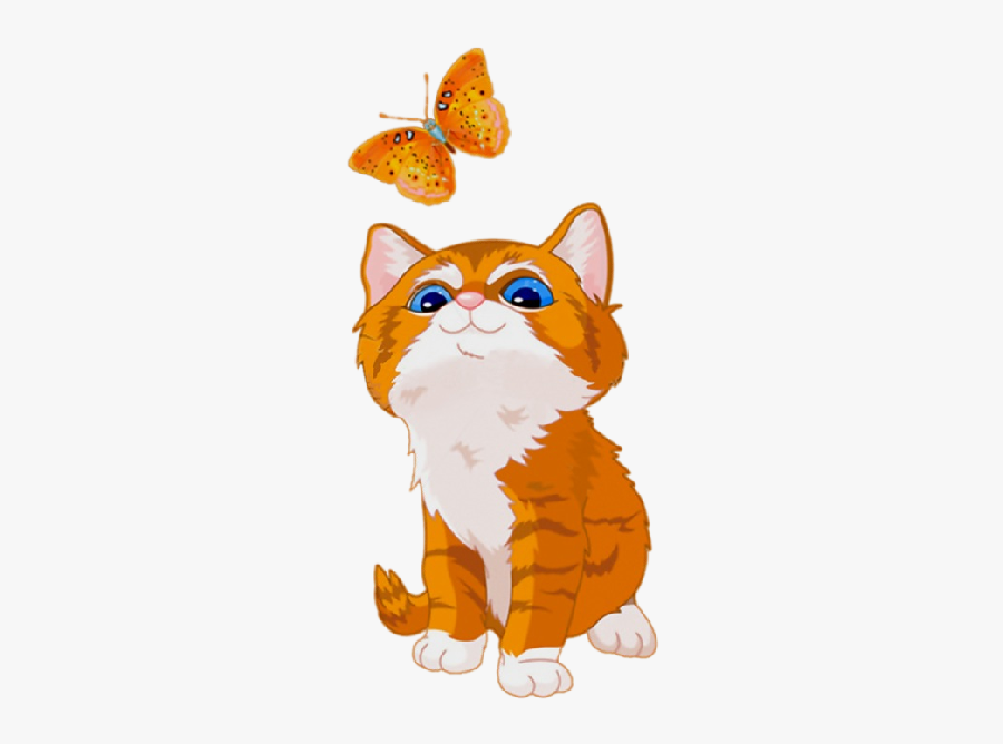 Kitten Havana Brown Tabby Cat Clip Art - Orange Tabby Cat Kitten Cartoon, Transparent Clipart