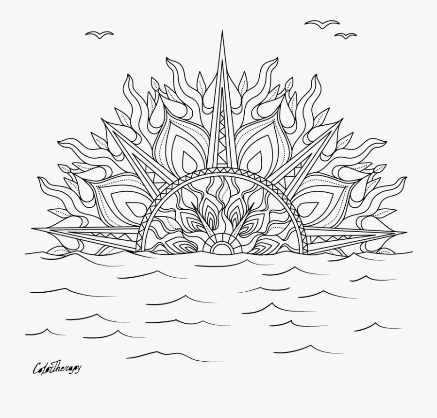 Sunset Coloring Page | 861x900