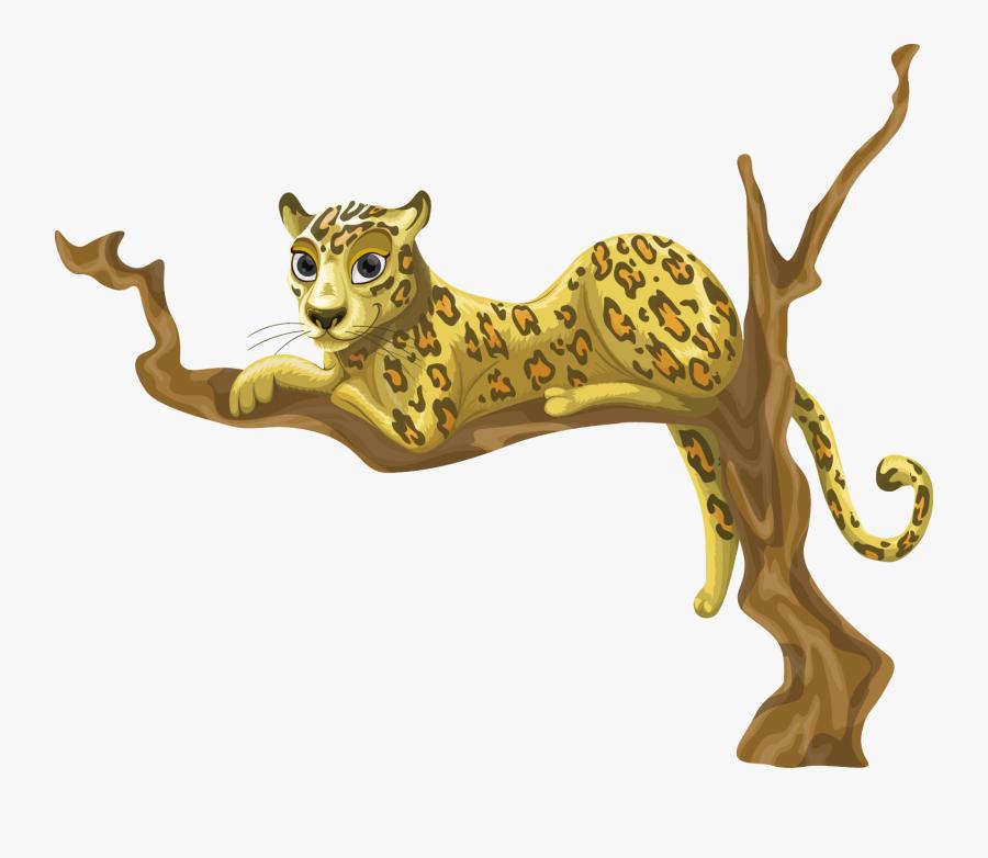 Puma Logo Clipart Jaguar - Leopard On Tree Cartoon, Transparent Clipart
