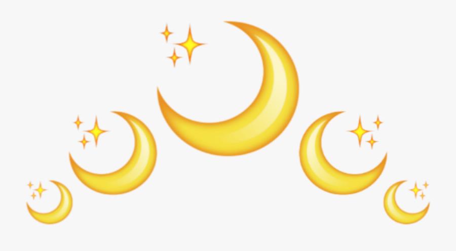 #moon #emoji #luna #crown #corona #back #star #yellow - Corona De Lunas Tumblr Png, Transparent Clipart