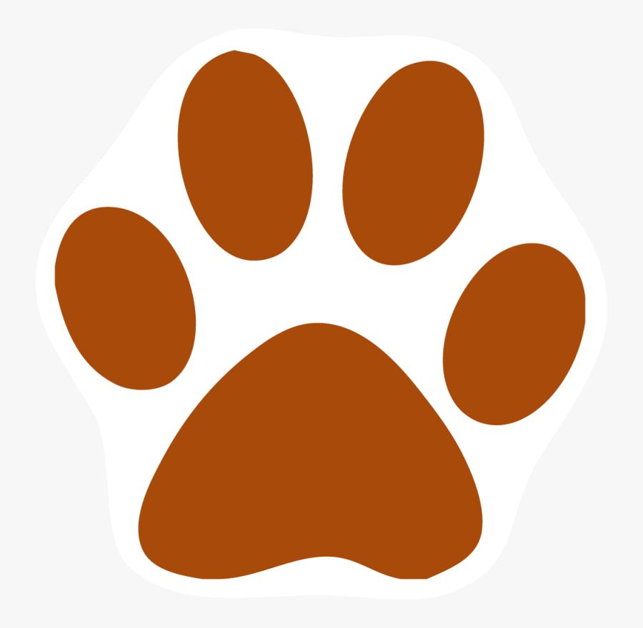 Orange Cat Clipart - Gold Paw Print Transparent Background, Transparent Clipart