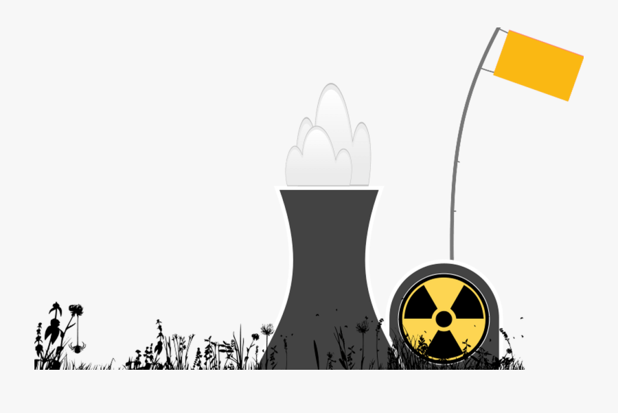 Nuclear Power Plant With Grass Silhouette Ingis - Nuclear Energy Background Powerpoint, Transparent Clipart