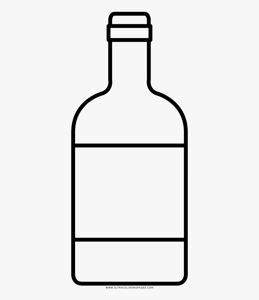 Whisky Bottle Coloring Page - Glass Bottle, Transparent Clipart