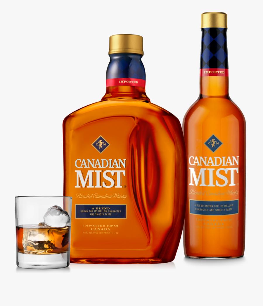 Two Bottles Of Canadian Mist Whiskey Alongside A Serving - Canadian Mist Whiskey 1.75, Transparent Clipart