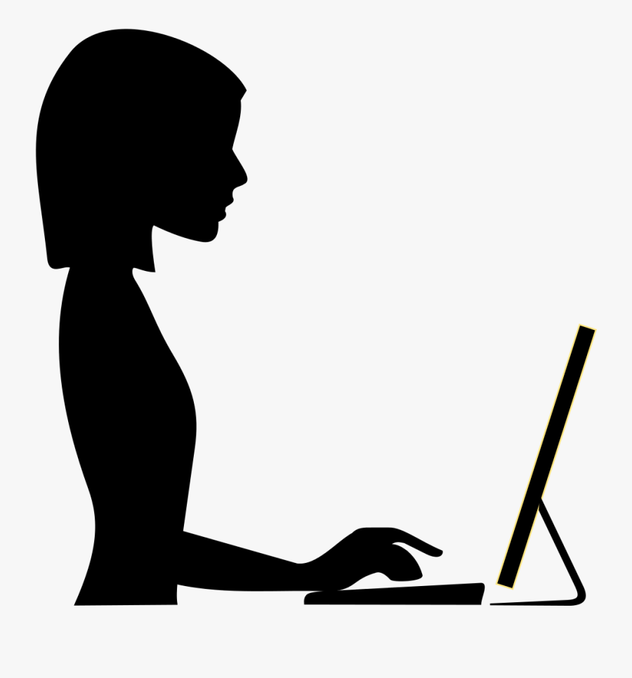 Laptop User Clipart - Woman Work Icon Png, Transparent Clipart