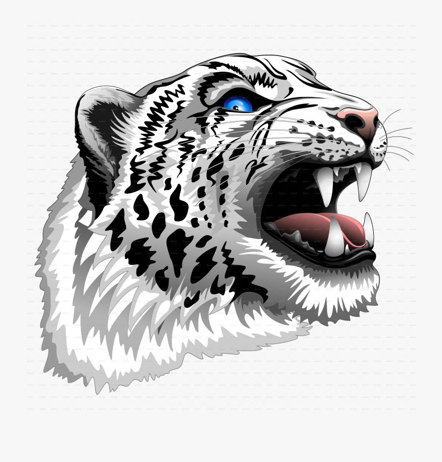 Snow Leopard Roar - Snow Leopard Head Png, Transparent Clipart